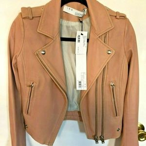 IRO DYLAN LUIGA POWDER PINK LEATHER JACKET 38